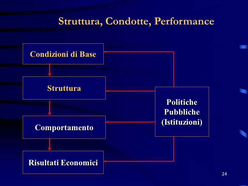 24 Struttura, Condotte, Performance Condizioni di Base Struttura Comportamento Risultati Economici PolitichePubbliche(Istituzioni)