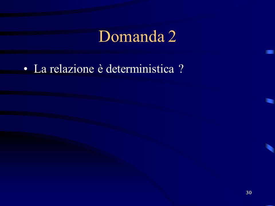 30 Domanda 2 La relazione è deterministica ?