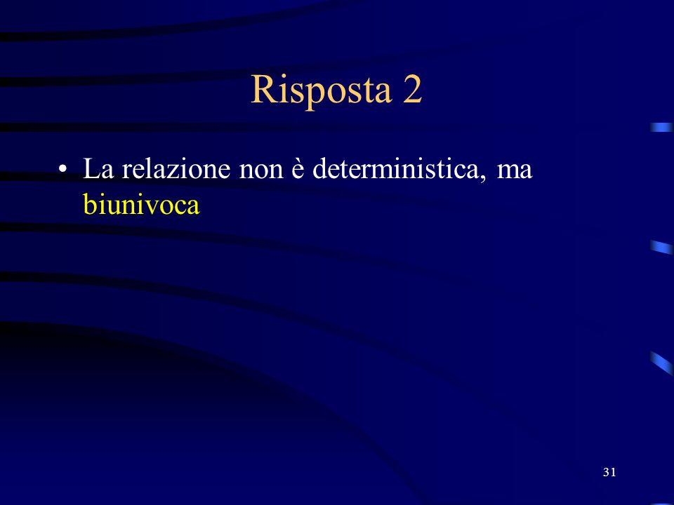 31 Risposta 2 La relazione non è deterministica, ma biunivoca
