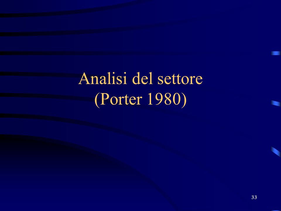 Analisi del settore (Porter 1980) 33