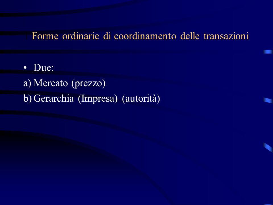 1 Forme ordinarie di coordinamento delle transazioni Due: a)Mercato (prezzo) b)Gerarchia (Impresa) (autorità)