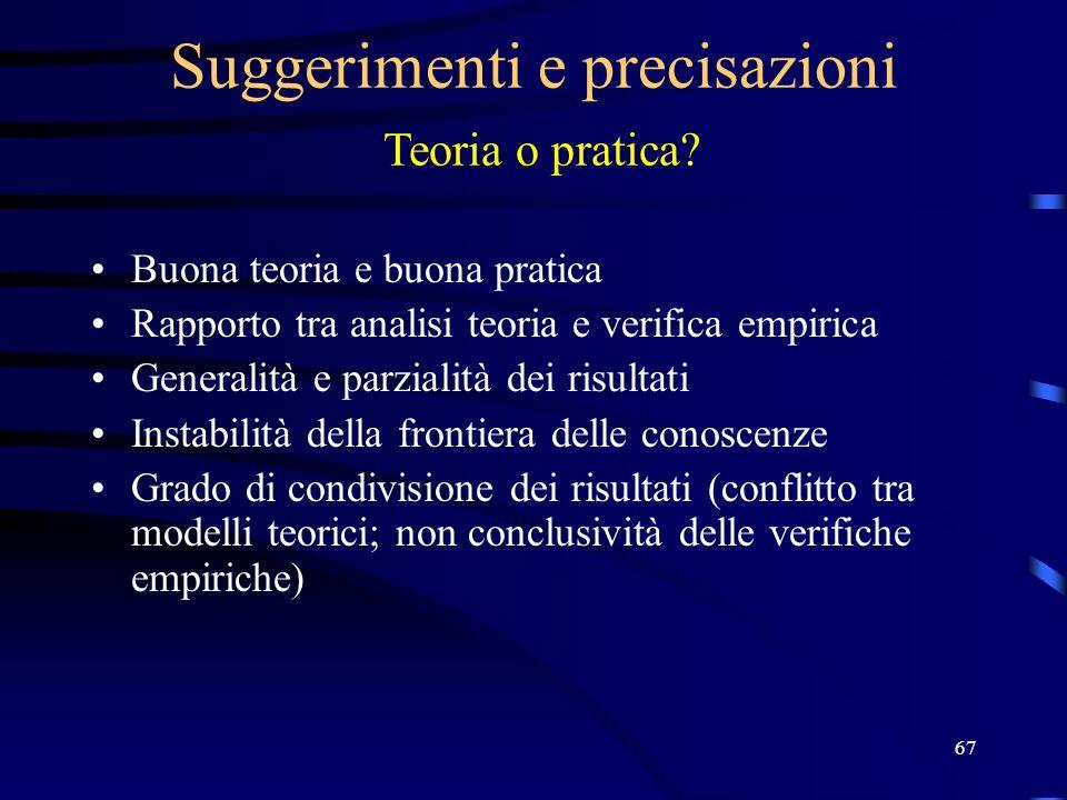 67 Suggerimenti e precisazioni Teoria o pratica.