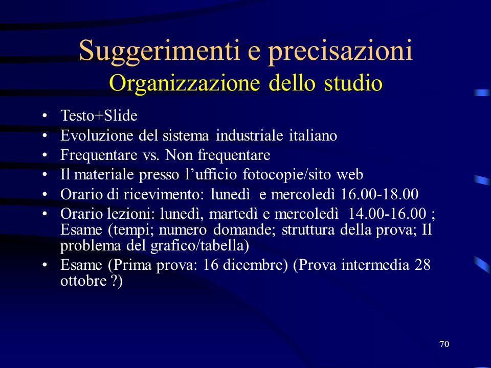 70 Suggerimenti e precisazioni Organizzazione dello studio Testo+Slide Evoluzione del sistema industriale italiano Frequentare vs.