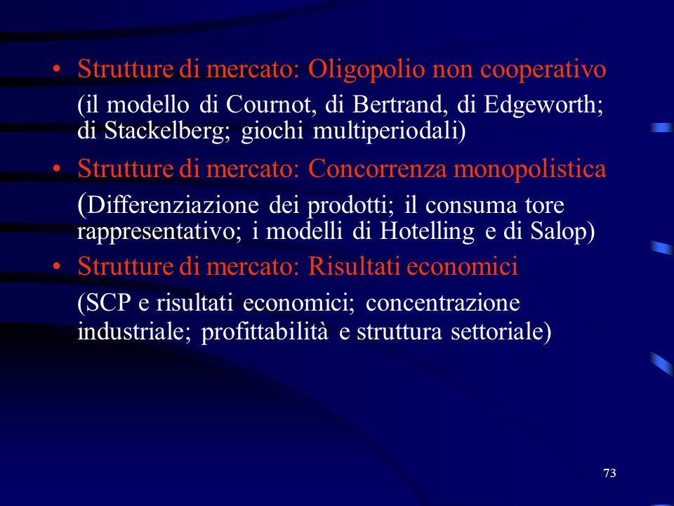 73 Strutture di mercato: Oligopolio non cooperativo (il modello di Cournot, di Bertrand, di Edgeworth; di Stackelberg; giochi multiperiodali) Strutture di mercato: Concorrenza monopolistica ( Differenziazione dei prodotti; il consuma tore rappresentativo; i modelli di Hotelling e di Salop) Strutture di mercato: Risultati economici (SCP e risultati economici; concentrazione industriale; profittabilità e struttura settoriale)