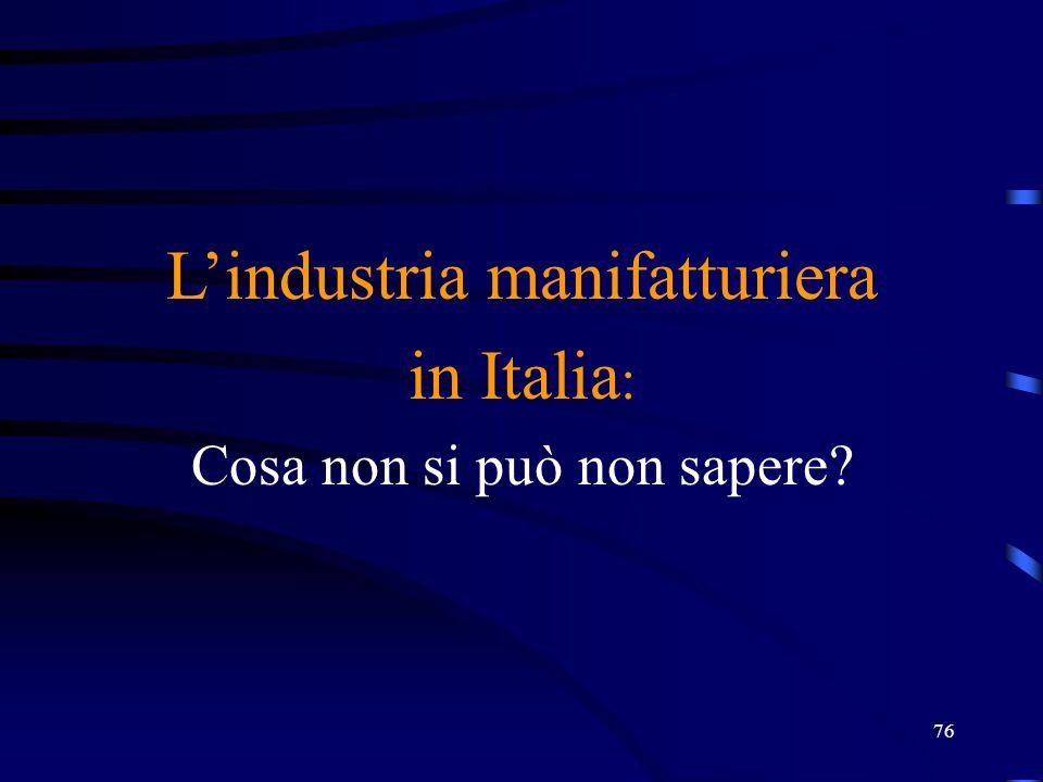 L'industria manifatturiera in Italia : Cosa non si può non sapere? 76
