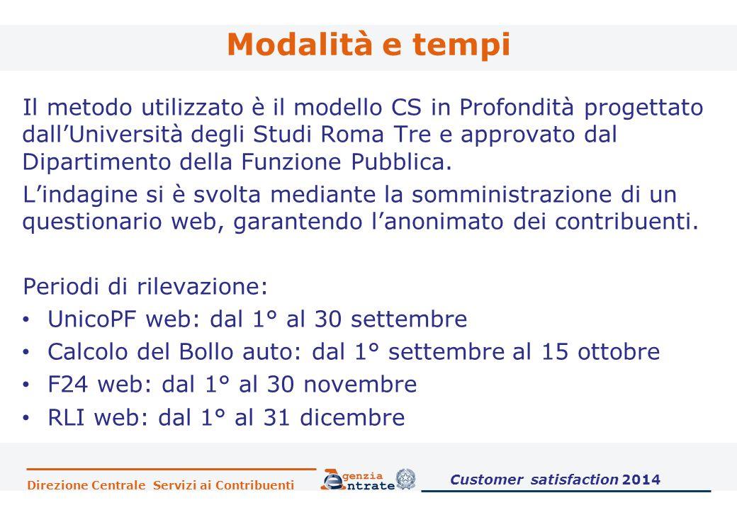 Direzione Centrale Servizi ai Contribuenti Modalità e tempi Il metodo utilizzato è il modello CS in Profondità progettato dall'Università degli Studi Roma Tre e approvato dal Dipartimento della Funzione Pubblica.