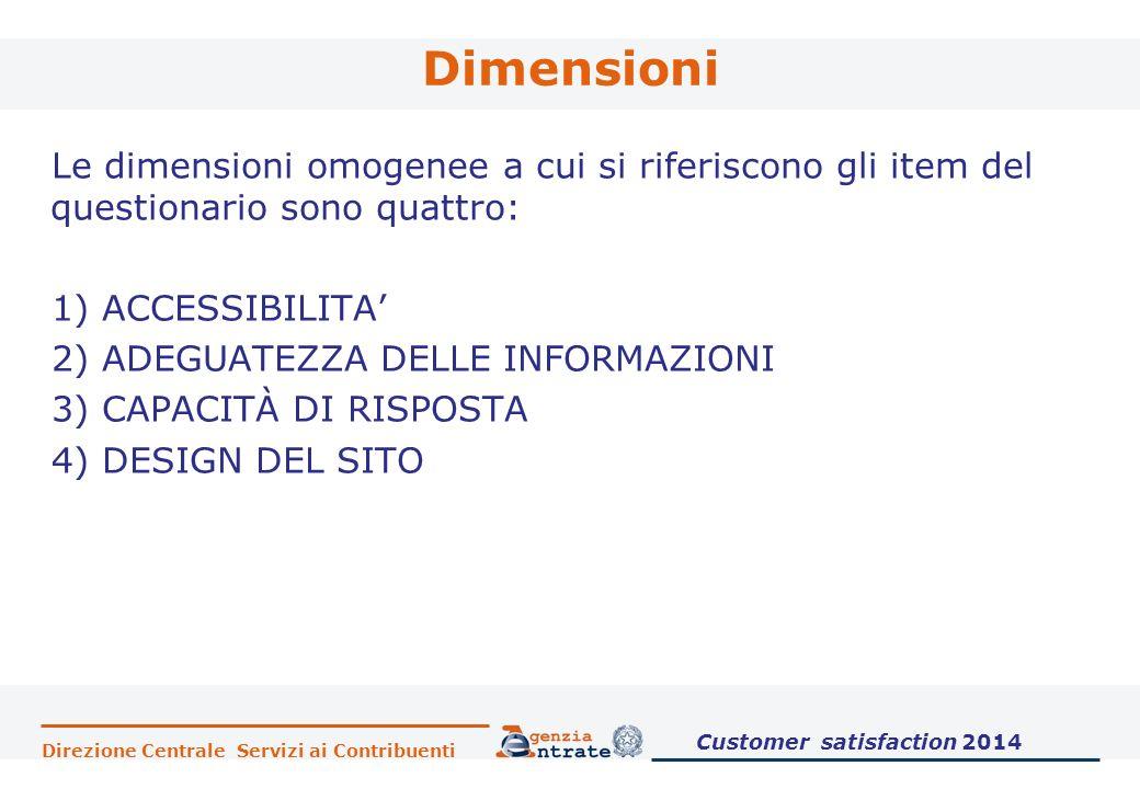 Direzione Centrale Servizi ai Contribuenti Dimensioni Le dimensioni omogenee a cui si riferiscono gli item del questionario sono quattro: 1) ACCESSIBILITA' 2) ADEGUATEZZA DELLE INFORMAZIONI 3) CAPACITÀ DI RISPOSTA 4) DESIGN DEL SITO Customer satisfaction 2014
