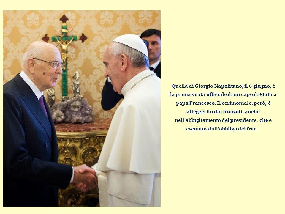 Quella di Giorgio Napolitano, il 6 giugno, è la prima visita ufficiale di un capo di Stato a papa Francesco.