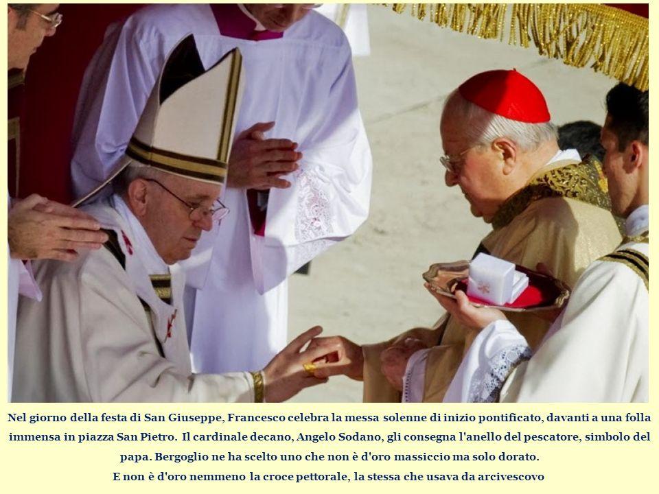 Nel giorno della festa di San Giuseppe, Francesco celebra la messa solenne di inizio pontificato, davanti a una folla immensa in piazza San Pietro.