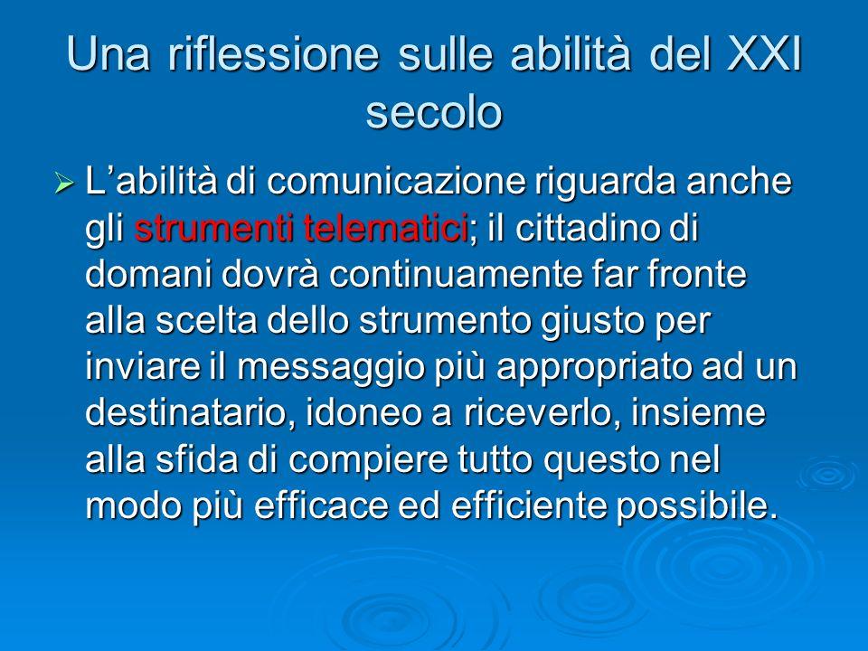 Una riflessione sulle abilità del XXI secolo  L'abilità di comunicazione riguarda anche gli strumenti telematici; il cittadino di domani dovrà contin