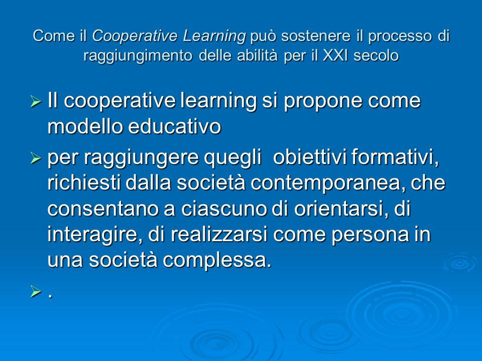 Come il Cooperative Learning può sostenere il processo di raggiungimento delle abilità per il XXI secolo  Il cooperative learning si propone come mod