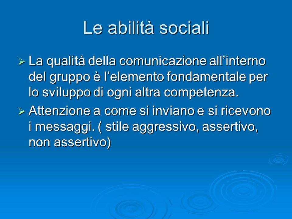 Le abilità sociali  La qualità della comunicazione all'interno del gruppo è l'elemento fondamentale per lo sviluppo di ogni altra competenza.  Atten