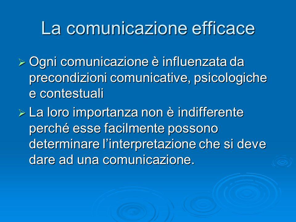 La comunicazione efficace  Ogni comunicazione è influenzata da precondizioni comunicative, psicologiche e contestuali  La loro importanza non è indi