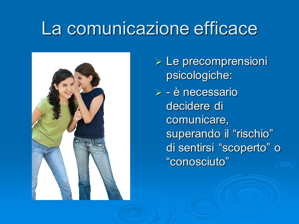 """La comunicazione efficace  Le precomprensioni psicologiche:  - è necessario decidere di comunicare, superando il """"rischio"""" di sentirsi """"scoperto"""" o"""