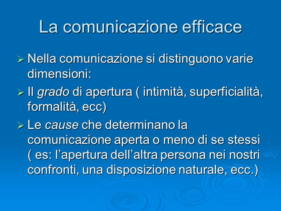 La comunicazione efficace  Nella comunicazione si distinguono varie dimensioni:  Il grado di apertura ( intimità, superficialità, formalità, ecc) 