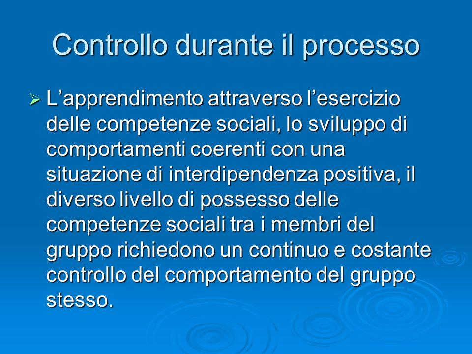 Controllo durante il processo  L'apprendimento attraverso l'esercizio delle competenze sociali, lo sviluppo di comportamenti coerenti con una situazi