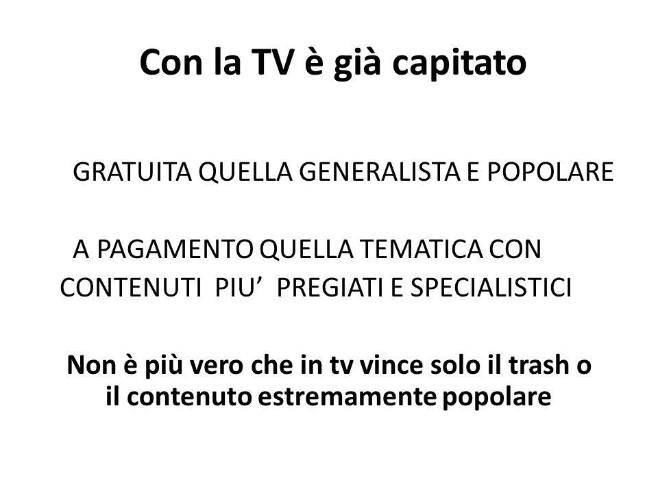 Con la TV è già capitato GRATUITA QUELLA GENERALISTA E POPOLARE A PAGAMENTO QUELLA TEMATICA CON CONTENUTI PIU' PREGIATI E SPECIALISTICI Non è più vero che in tv vince solo il trash o il contenuto estremamente popolare