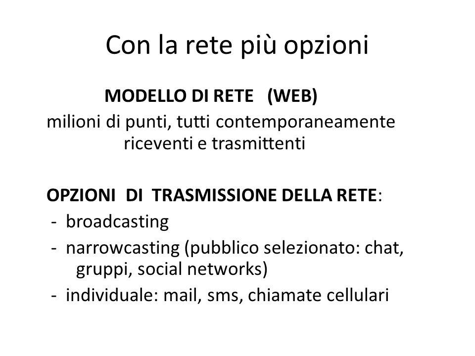 Con la rete più opzioni MODELLO DI RETE (WEB) milioni di punti, tutti contemporaneamente riceventi e trasmittenti OPZIONI DI TRASMISSIONE DELLA RETE: - broadcasting - narrowcasting (pubblico selezionato: chat, gruppi, social networks) - individuale: mail, sms, chiamate cellulari