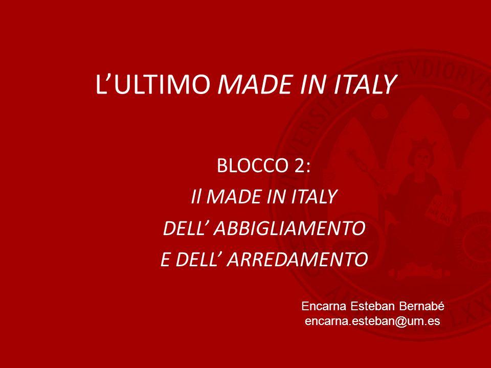 L'ULTIMO MADE IN ITALY BLOCCO 2: Il MADE IN ITALY DELL' ABBIGLIAMENTO E DELL' ARREDAMENTO Encarna Esteban Bernabé encarna.esteban@um.es