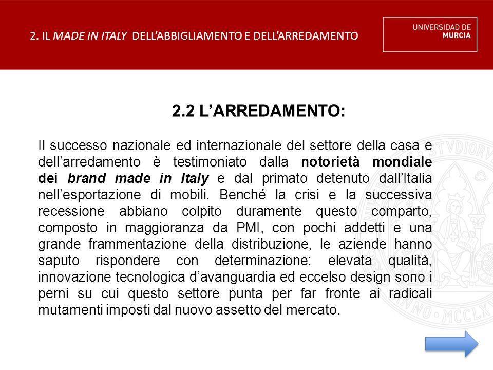 2.2 L'ARREDAMENTO: Il successo nazionale ed internazionale del settore della casa e dell'arredamento è testimoniato dalla notorietà mondiale dei brand made in Italy e dal primato detenuto dall'Italia nell'esportazione di mobili.