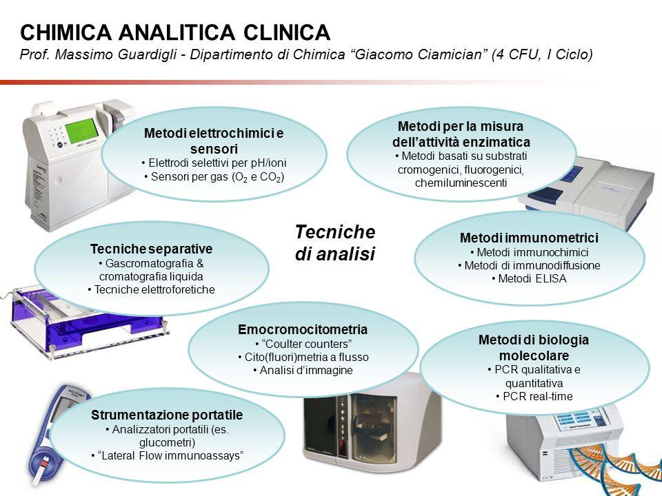 Tecniche di analisi Tecniche separative Gascromatografia & cromatografia liquida Tecniche elettroforetiche Metodi elettrochimici e sensori Elettrodi selettivi per pH/ioni Sensori per gas (O 2 e CO 2 ) Metodi per la misura dell'attività enzimatica Metodi basati su substrati cromogenici, fluorogenici, chemiluminescenti Metodi di biologia molecolare PCR qualitativa e quantitativa PCR real-time Strumentazione portatile Analizzatori portatili (es.