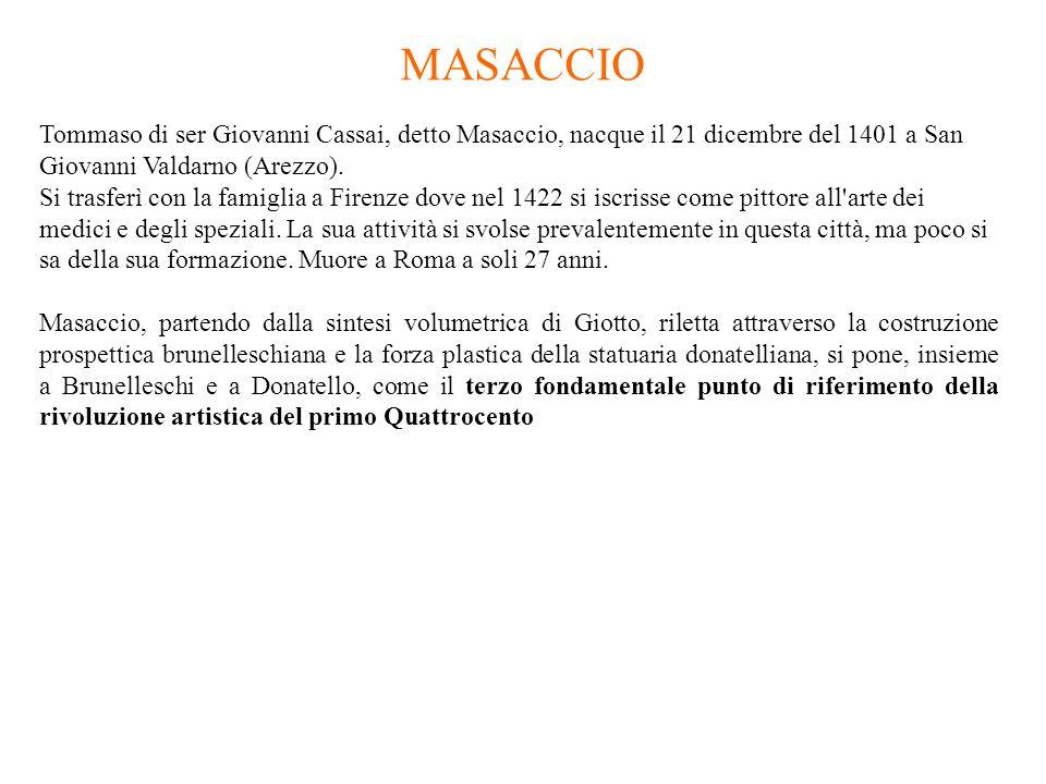 Tommaso di ser Giovanni Cassai, detto Masaccio, nacque il 21 dicembre del 1401 a San Giovanni Valdarno (Arezzo). Si trasferì con la famiglia a Firenze