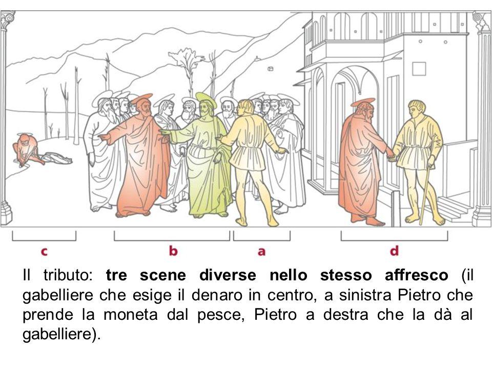 Il tributo: tre scene diverse nello stesso affresco (il gabelliere che esige il denaro in centro, a sinistra Pietro che prende la moneta dal pesce, Pi