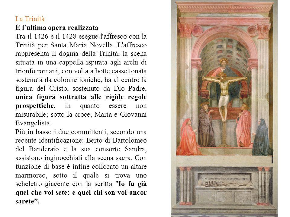 La Trinità È l ' ultima opera realizzata Tra il 1426 e il 1428 esegue l'affresco con la Trinità per Santa Maria Novella. L ' affresco rappresenta il d