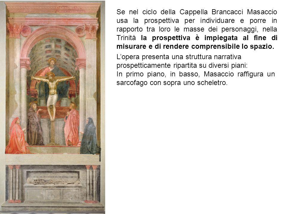 Se nel ciclo della Cappella Brancacci Masaccio usa la prospettiva per individuare e porre in rapporto tra loro le masse dei personaggi, nella Trinità