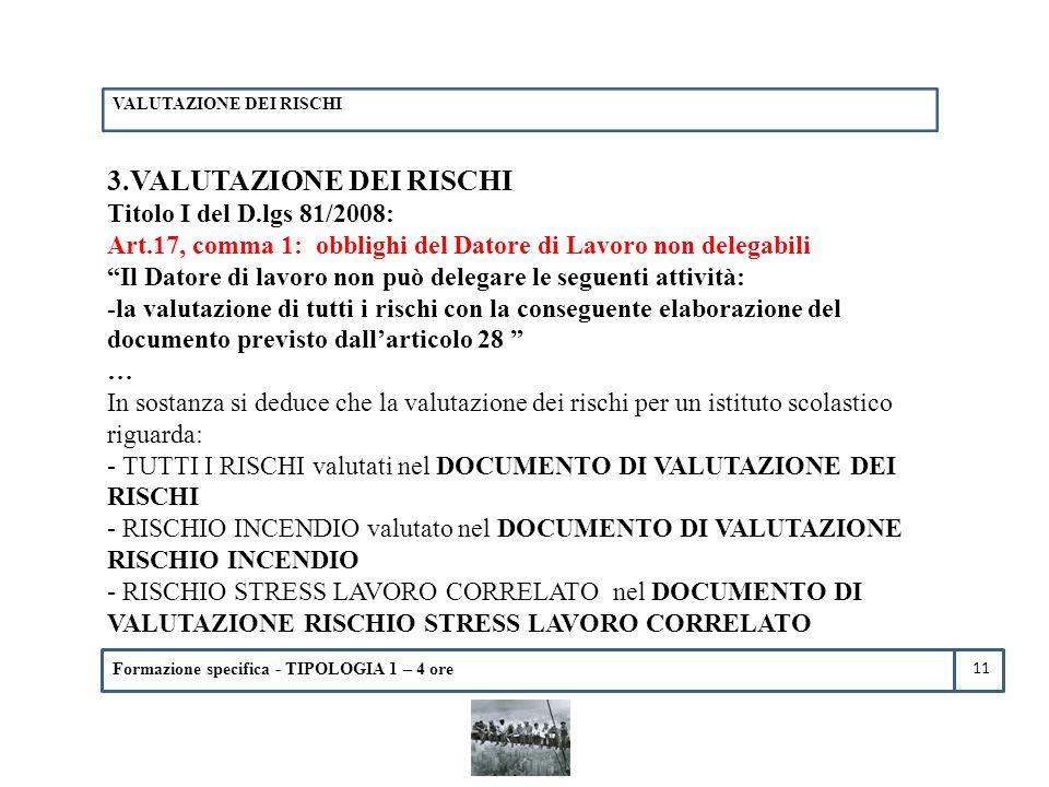 Formazione specifica - TIPOLOGIA 1 – 4 ore 3.VALUTAZIONE DEI RISCHI Titolo I del D.lgs 81/2008: Art.17, comma 1: obblighi del Datore di Lavoro non del