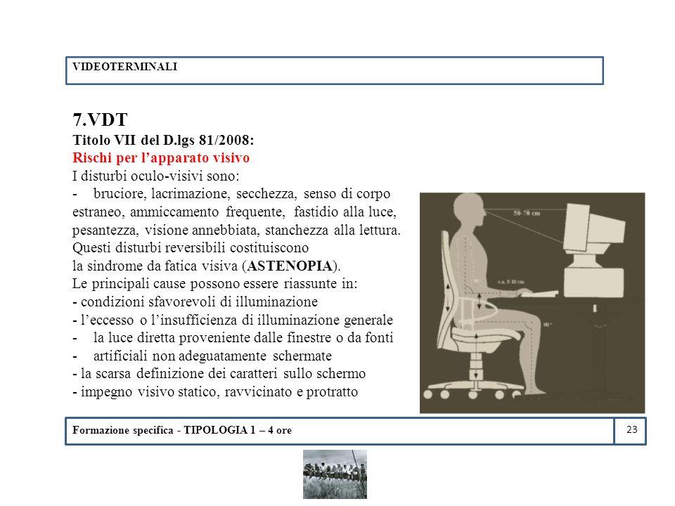 Formazione specifica - TIPOLOGIA 1 – 4 ore 7.VDT Titolo VII del D.lgs 81/2008: Rischi per l'apparato visivo I disturbi oculo-visivi sono: -bruciore, l