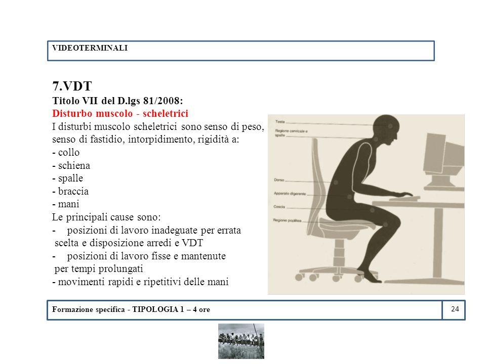 Formazione specifica - TIPOLOGIA 1 – 4 ore 7.VDT Titolo VII del D.lgs 81/2008: Disturbo muscolo - scheletrici I disturbi muscolo scheletrici sono sens