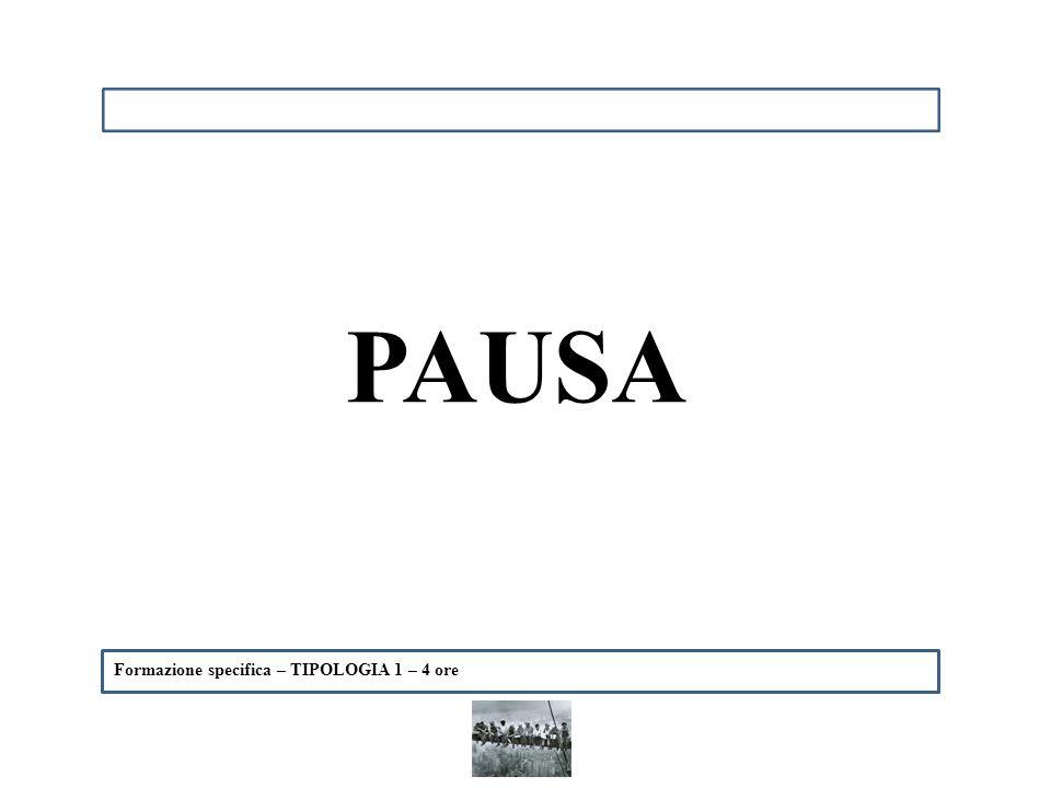 Formazione specifica – TIPOLOGIA 1 – 4 ore PAUSA