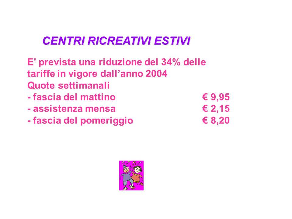 CENTRI RICREATIVI ESTIVI E' prevista una riduzione del 34% delle tariffe in vigore dall'anno 2004 Quote settimanali - fascia del mattino€ 9,95 - assistenza mensa€ 2,15 - fascia del pomeriggio€ 8,20