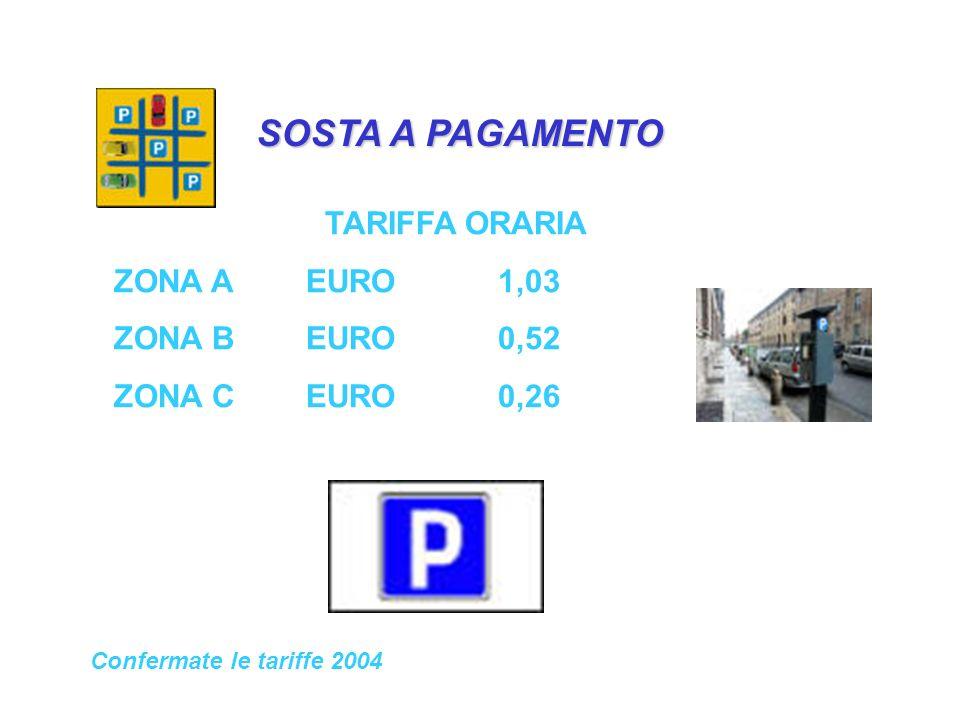 SOSTA A PAGAMENTO TARIFFA ORARIA ZONA AEURO1,03 ZONA BEURO0,52 ZONA CEURO0,26 Confermate le tariffe 2004