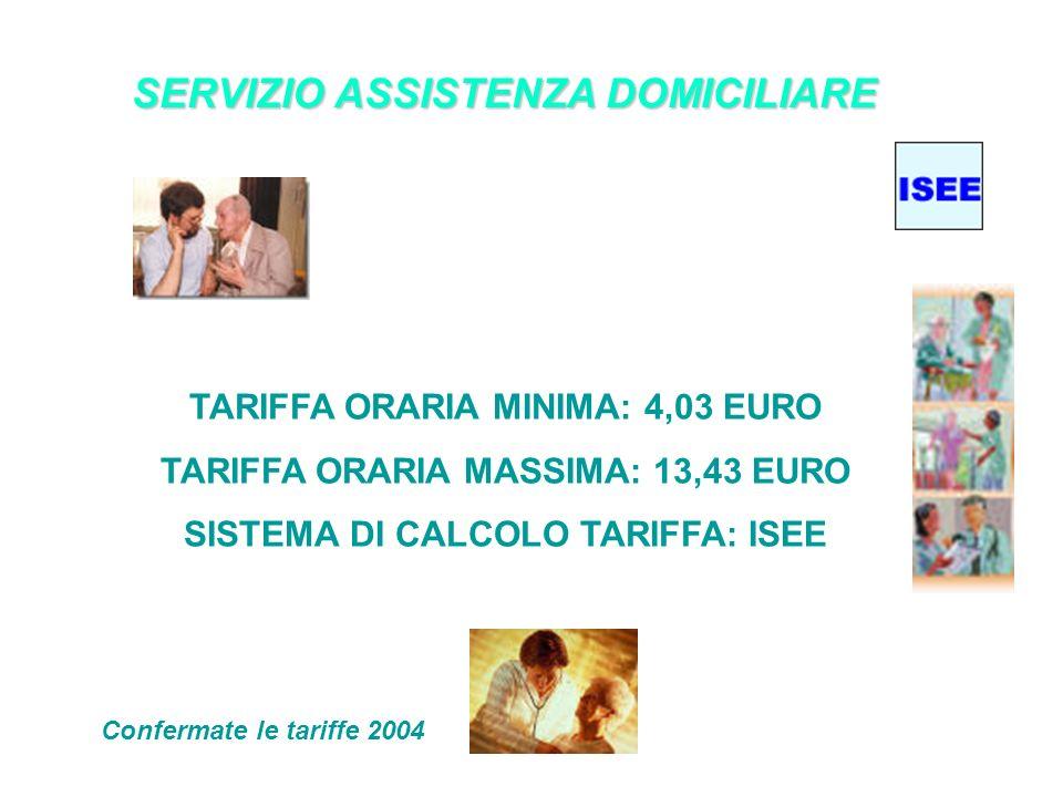 SERVIZIO ASSISTENZA DOMICILIARE TARIFFA ORARIA MINIMA: 4,03 EURO TARIFFA ORARIA MASSIMA: 13,43 EURO SISTEMA DI CALCOLO TARIFFA: ISEE Confermate le tariffe 2004