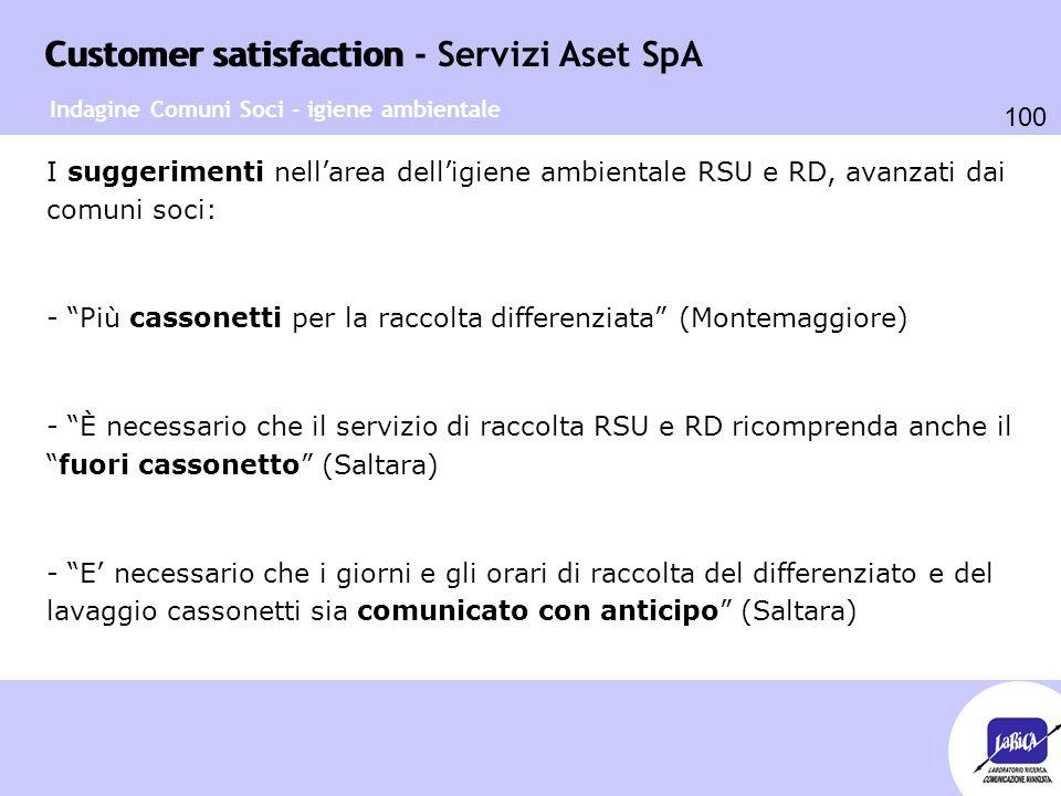 Customer satisfaction 100 Customer satisfaction - Servizi Aset SpA Indagine Comuni Soci - igiene ambientale I suggerimenti nell'area dell'igiene ambie