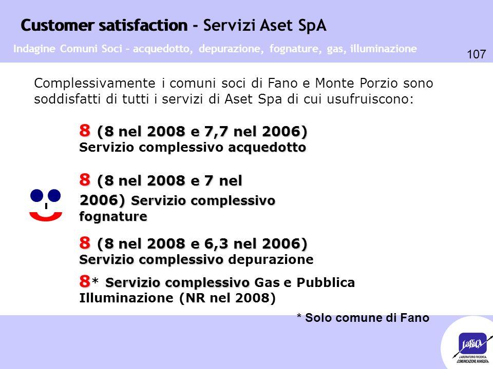 Customer satisfaction 107 Customer satisfaction - Servizi Aset SpA Complessivamente i comuni soci di Fano e Monte Porzio sono soddisfatti di tutti i s