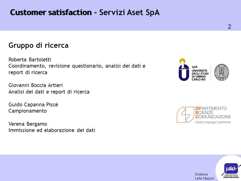 Customer satisfaction 103 Customer satisfaction - Servizi Aset SpA Il livello di soddisfazione rispetto al servizio di raccolta domiciliare è notevolmente peggiorato dal 2008 7,4 (8,4 nel 2008 e 7,6 nel 2006) Indagine Comuni Soci - igiene ambientale