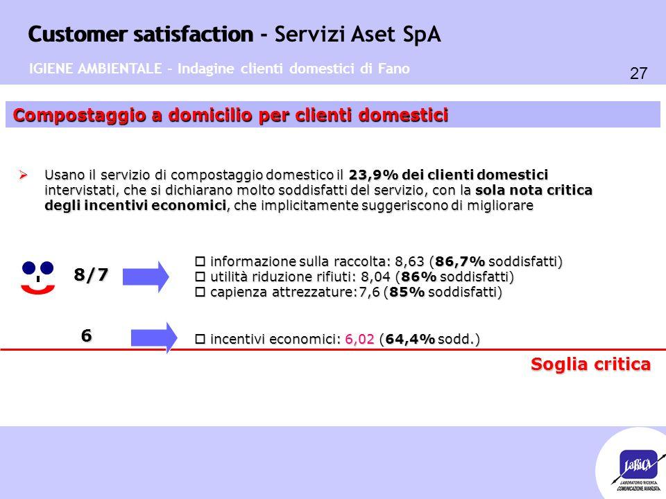 Customer satisfaction 27 Customer satisfaction - Servizi Aset SpA Compostaggio a domicilio per clienti domestici 8/7  Usano il servizio di compostagg