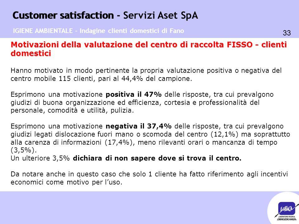 Customer satisfaction 33 Customer satisfaction - Servizi Aset SpA IGIENE AMBIENTALE - Indagine clienti domestici di Fano Motivazioni della valutazione