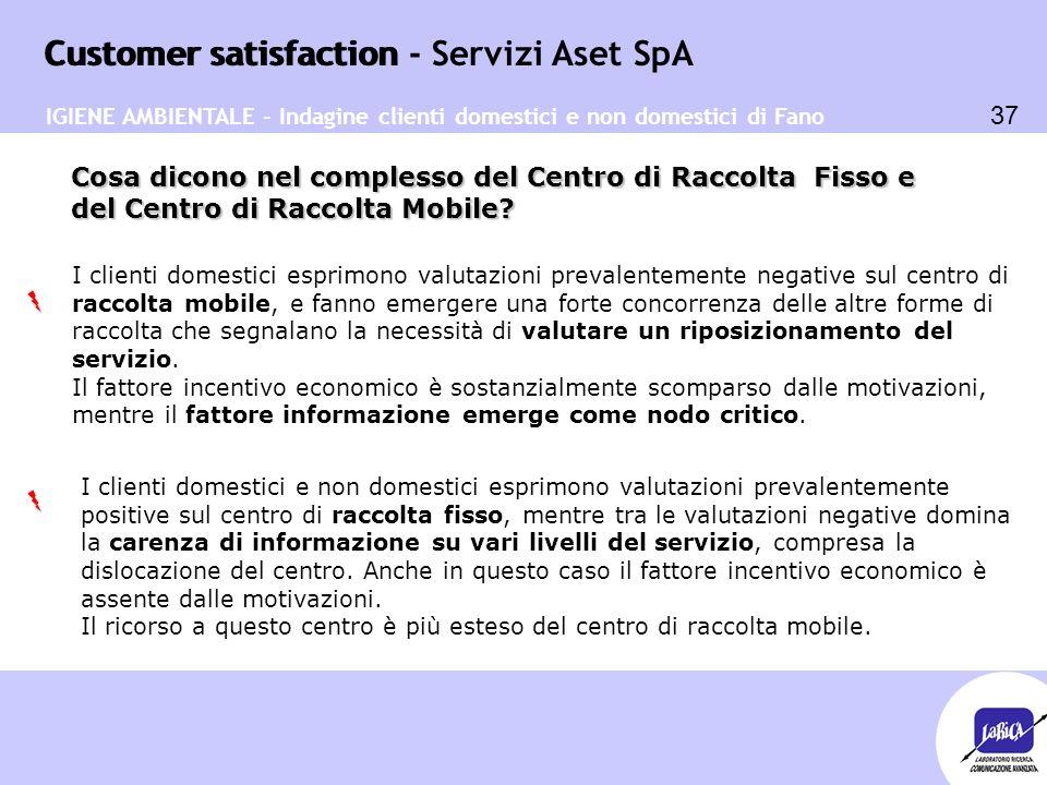 Customer satisfaction 37 Customer satisfaction - Servizi Aset SpA Cosa dicono nel complesso del Centro di Raccolta Fisso e del Centro di Raccolta Mobi