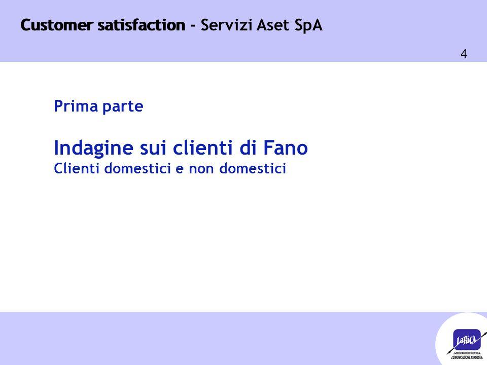 Customer satisfaction 95 Customer satisfaction - Servizi Aset SpA Seconda parte Indagine sui comuni soci