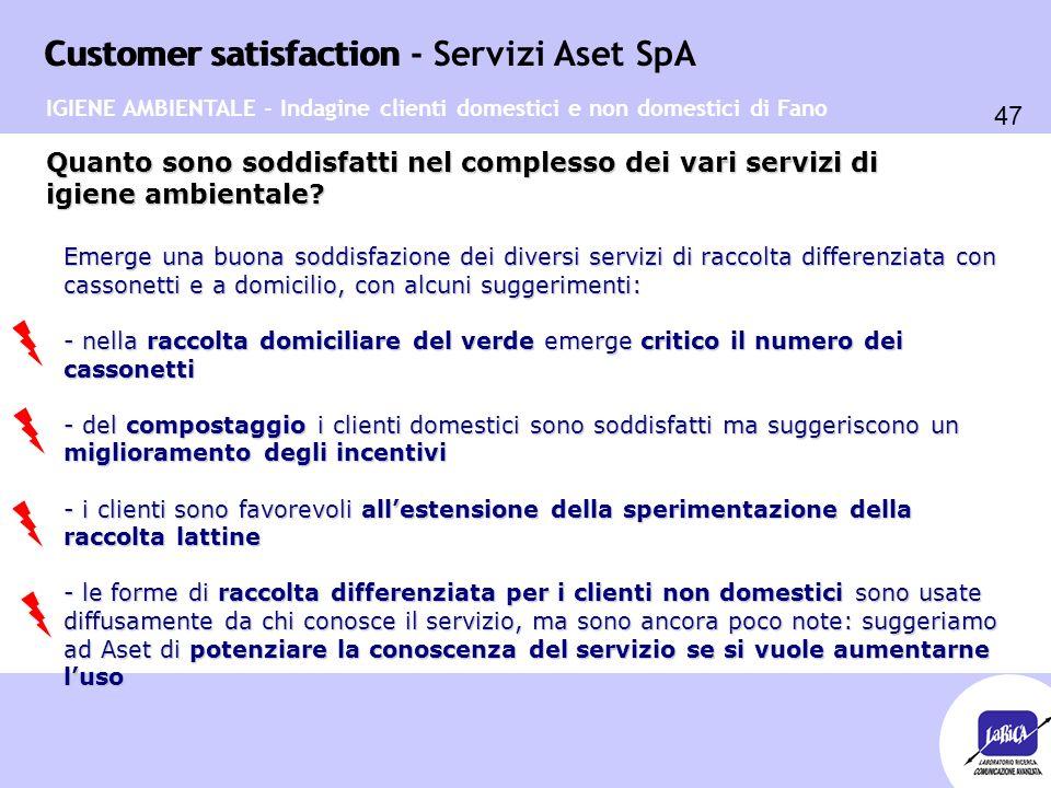 Customer satisfaction 47 Customer satisfaction - Servizi Aset SpA Quanto sono soddisfatti nel complesso dei vari servizi di igiene ambientale? Emerge