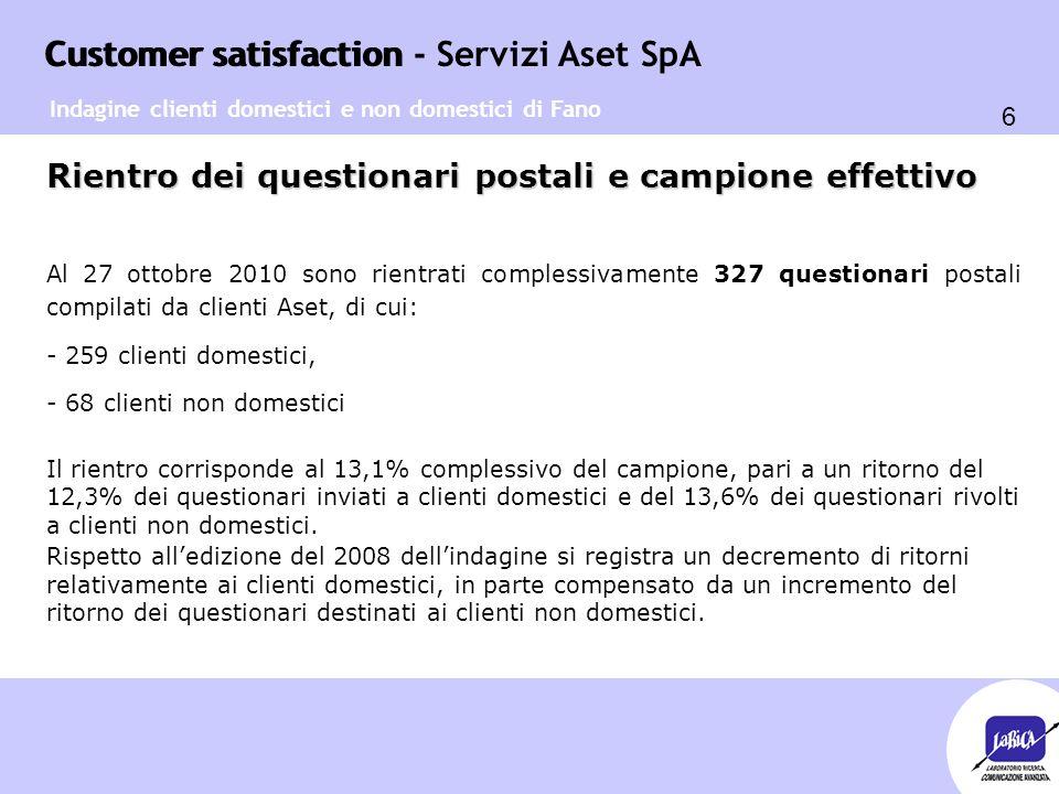 Customer satisfaction 6 Customer satisfaction - Servizi Aset SpA Rientro dei questionari postali e campione effettivo Al 27 ottobre 2010 sono rientrat