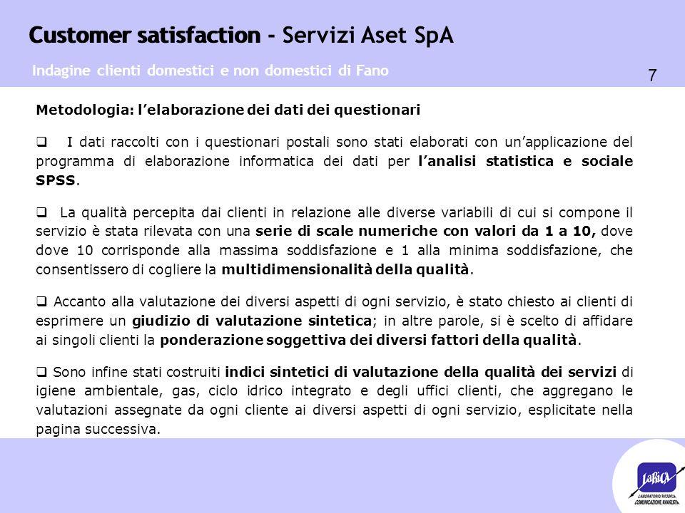 Customer satisfaction 28 Customer satisfaction - Servizi Aset SpA Servizi a domicilio per clienti NON domestici  Sono a conoscenza della possibilità di attivare servizi di raccolta domiciliare per utenze non domestiche il 54,4% dei clienti non domestici intervistati (pari a 37 unità).
