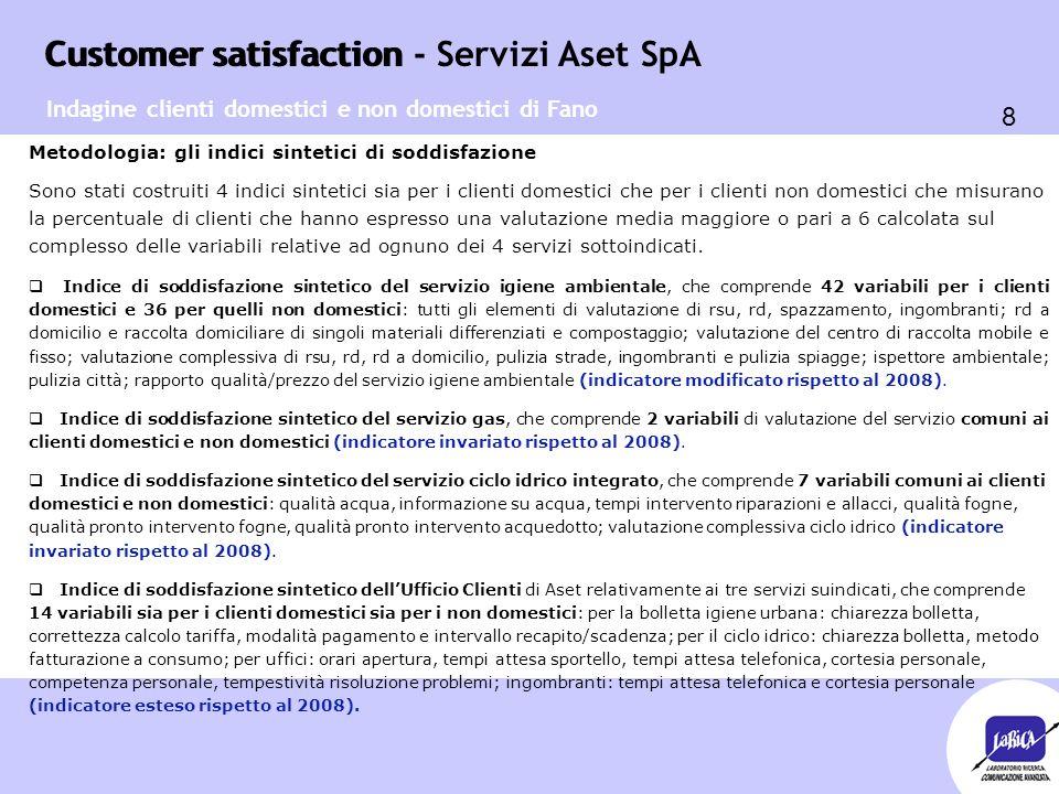Customer satisfaction 8 Customer satisfaction - Servizi Aset SpA Metodologia: gli indici sintetici di soddisfazione Sono stati costruiti 4 indici sint