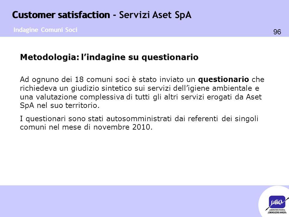Customer satisfaction 96 Customer satisfaction - Servizi Aset SpA Metodologia: l'indagine su questionario Ad ognuno dei 18 comuni soci è stato inviato