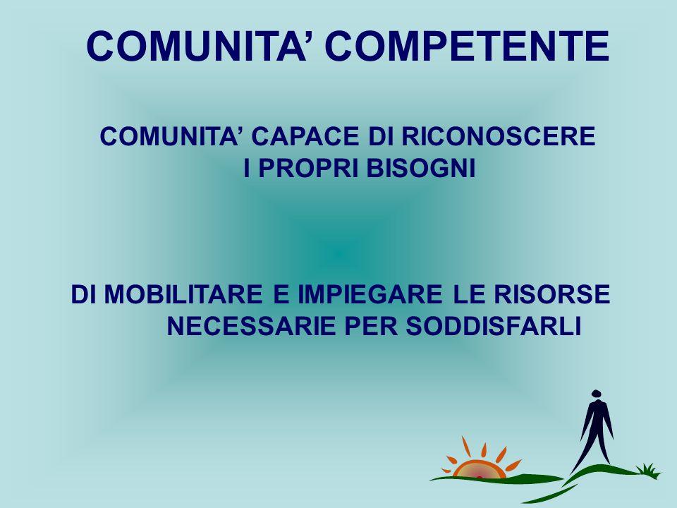 COMUNITA' COMPETENTE COMUNITA' CAPACE DI RICONOSCERE I PROPRI BISOGNI DI MOBILITARE E IMPIEGARE LE RISORSE NECESSARIE PER SODDISFARLI