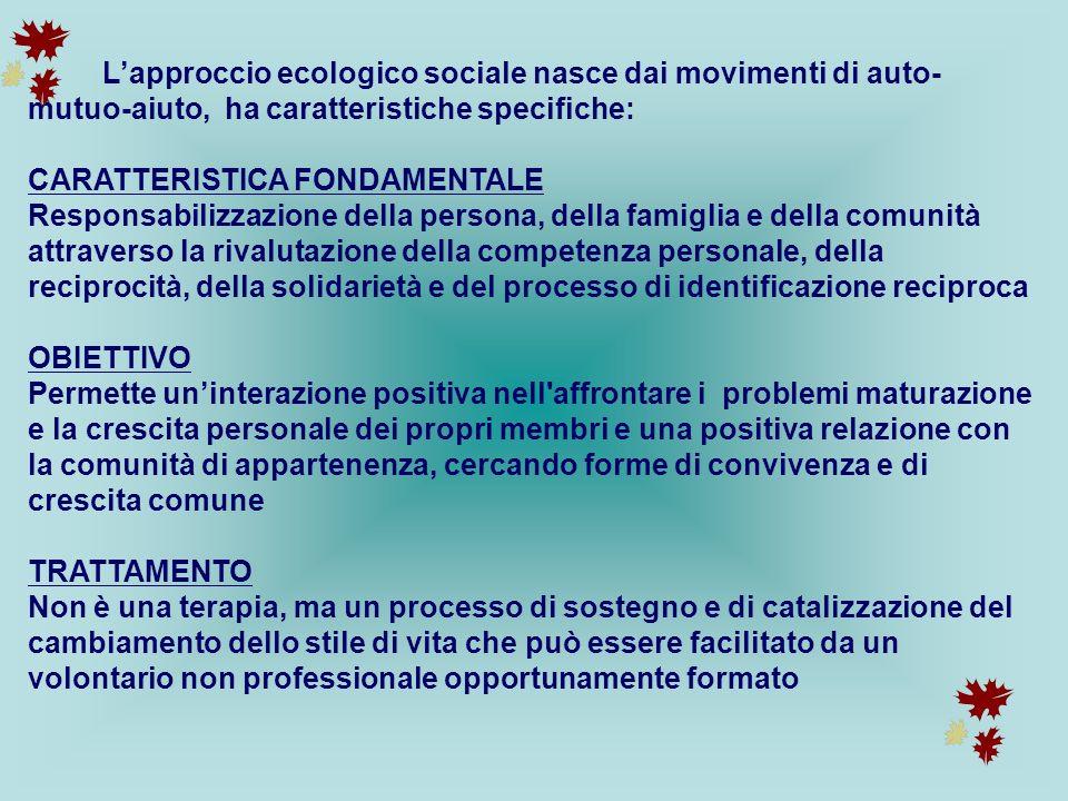 L'approccio ecologico sociale nasce dai movimenti di auto- mutuo-aiuto, ha caratteristiche specifiche: CARATTERISTICA FONDAMENTALE Responsabilizzazion
